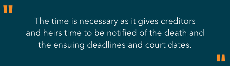 highlighted text - the time is necessary as it gives creditors and heirs time to be notified